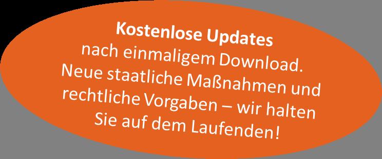Corona-Sicherheitspaket - kostenlose Updates nach einmaligem Download. Neue staatliche Maßnahmen und rechtliche Vorgaben - wir halten Sie auf dem Laufenden!