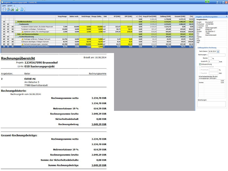 Ausschreiben leicht gemacht - Abrechnung/Zahlungsübersichten – den aktuellen Kostenstand immer im Blick