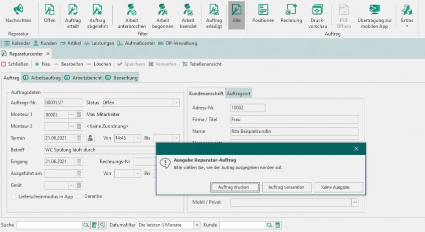 Modul Reparatur und Mitarbeiterplanung - Handwerksbüro PS