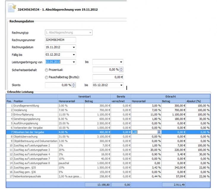Honorarabrechnung - Integrierter Rechnungsassistent