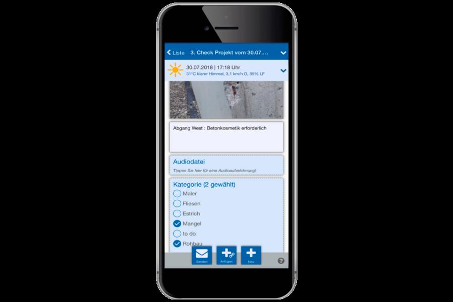 Auf der Baustelle intuitiv bedienbar - vieles dokumentiert die App ganz automatisch!